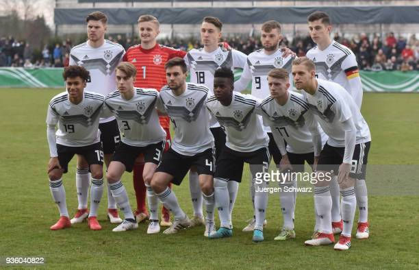 German team poses prior to the Under 19 Euro Qualifier between Germany and Scotland on March 21 2018 in Lippstadt Germany