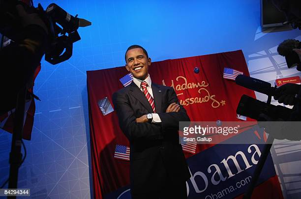 German television crews film the justunveiled wax figure of US Presidentelect Barack Obama at Madame Tussauds on January 15 2009 in Berlin Germany...