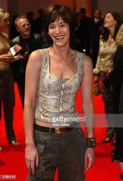 German television hostess Sandra Maahn arrives at the Tribute To Bambi charity gala November 26, 2003 in Hamburg, Germany.