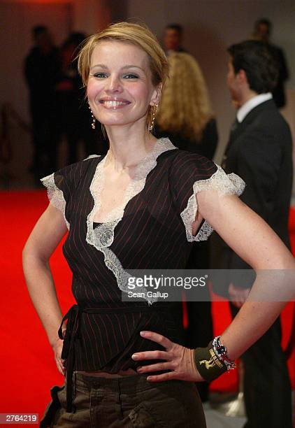 German television hostess Susann Atwell arrives at the Tribute To Bambi charity gala November 26 2003 in Hamburg Germany