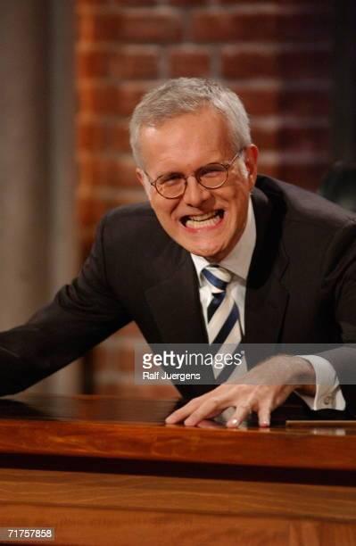 German television talk host Harald Schmidt is seen during his show on December 16 2003 in Cologne Germany