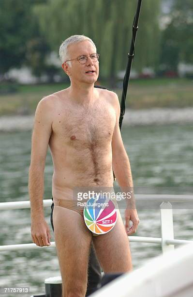 German television talk host Harald Schmidt is seen onboard the Loreley ship during his show on September 18 2003 in Cologne Germany