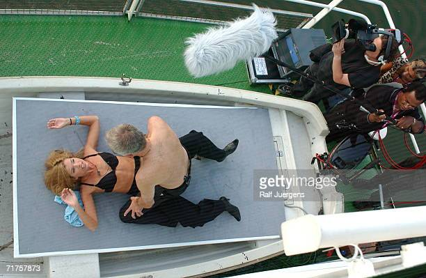 German television talk host Harald Schmidt performs a sketch with German comedian Anke Engelke onboard the Loreley ship during his show on September...