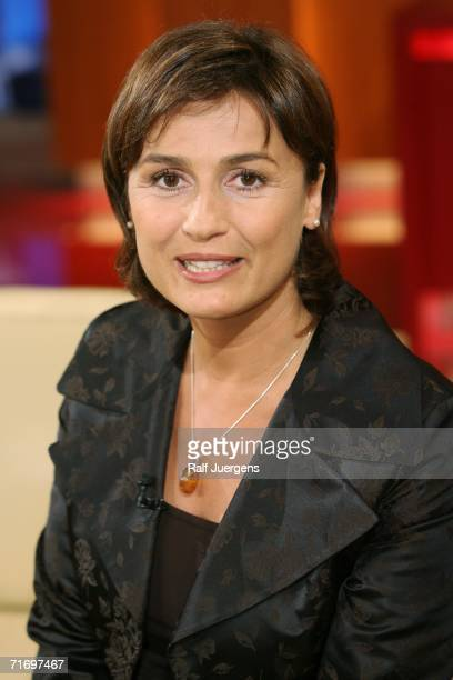 German television talk show hostess Sandra Maischberger appears during the taping of her show August 22 2006 in Cologne Germany