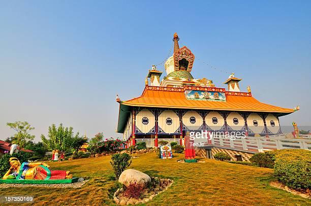 german temple - lumbini - lumbini nepal stock pictures, royalty-free photos & images