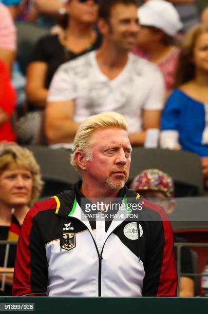 German Tennis Federation Head of the Men's Tennis Boris Becker watches Alexander Zverev of Germany playing against Nick Kyrgios of Australia during...
