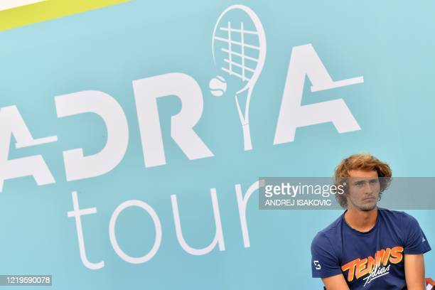 German tennis player Alexander Sascha Zverev attends a press conference of the Adria Tour a charity exhibition hosted by Serbian tennis player Novak...