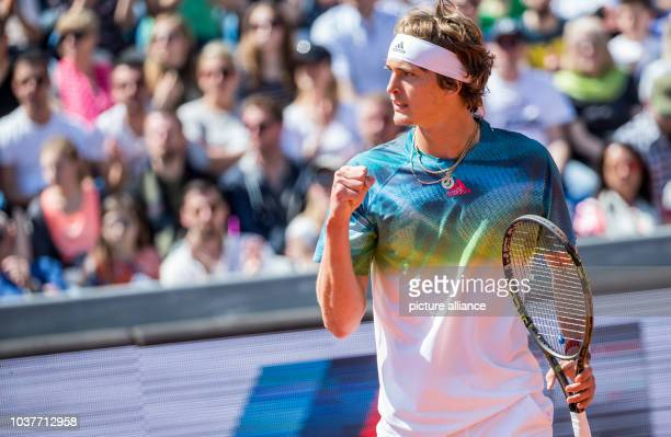 German Tennis player Alexander Zverev in action against Austrian tennis player Dominic Thiem in the half final at the ATP Tournament in Munich...