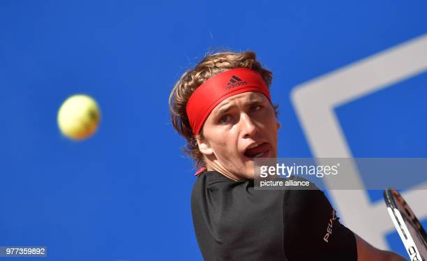 German Tennis Player Alexander Zverev in action against compatriot Philipp Kohlschreiber during their 2018 BMW Open men's singles final match in...
