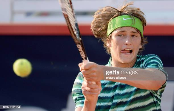 German tennis player Alexander Zverev in action during the semifinal against Ferrer of Spanish during the ATP tournament in Hamburg Germany 19 July...