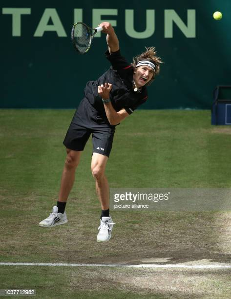 German tennis player Alexander Zverev in action in the final against fellow German Florian Mayer at the ATP tournament in Halle Germany 19 June 2016...