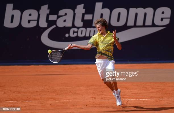 German tennis player Alexander Zverev plays the ball during the first round tennis match against Bautista Agut from Spain at the ATP tournament in...