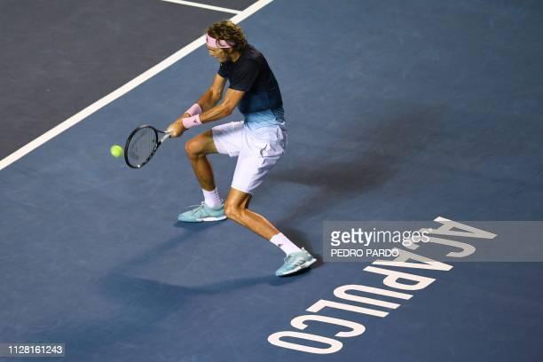 German tennis player Alexander Zverev returns the ball to Australian tennis player Alex de Minaur during their Mexico ATP 500 Open men's single...