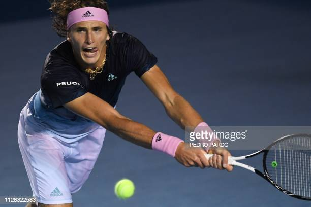 German tennis player Alexander Zverev returns the ball to British tennis player Cameron Norrie during a Mexico ATP Open men's singles tennis...