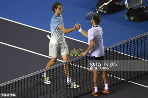 German tennis player Alexander Zverev shakes hands with US player Ryan Harrison after beating him during their Mexico ATP 500 Open men's single...