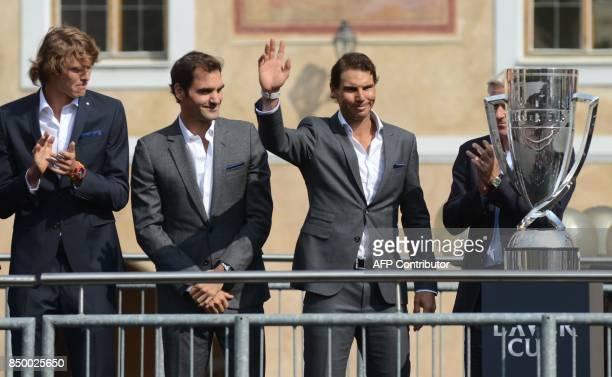 German tennis player Alexander Zverev Swiss tennis player Roger Federer Spanish tennis player Rafael Nadal and Swedish former tennis player Bjorn...