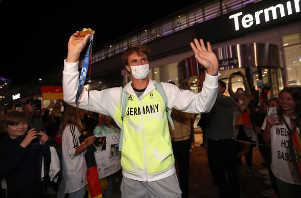 DEU: Tokyo 2020 Gold Medalist Alexander Zverev Returns To Germany