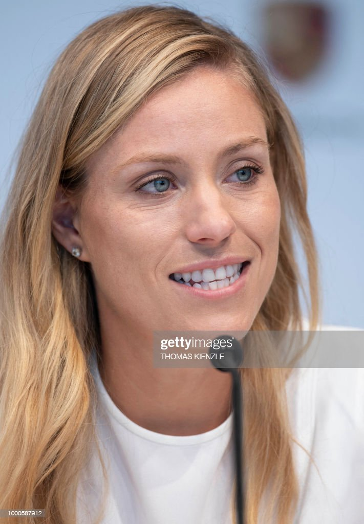 German tennis player and Wimbledon champion Angelique Kerber attends a press conference at the Porsche museum in Stuttgart, southwestern Germany, on July 17, 2018.