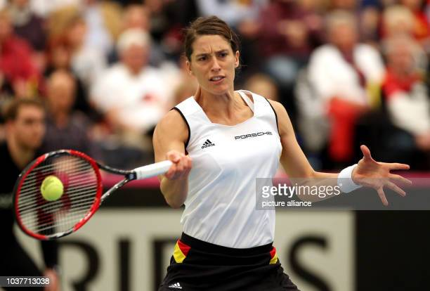 German Tennis player Andrea Petkovic in action against Bencic from Switzerland in the Fed Cup quarterfinals Germany vs Switzerland in Leipzig Germany...
