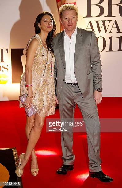 German tennis player Boris Becker and wife Lilly Kerssenberg arrive at the 02 arena in east London ahead of the Brit Awards on February 15 2011 The...