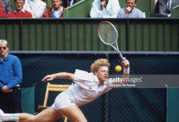 German tennis player Boris Becker competing against Kevin Curren in the final of the Men's Singles at Wimbledon 7th July 1985 Becker won 63 67 76 64