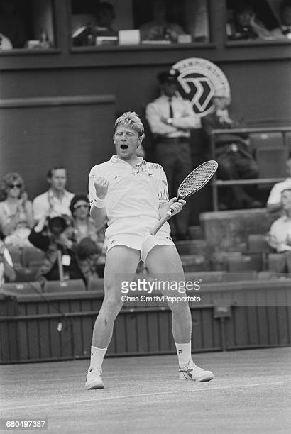 German tennis player Boris Becker pictured clenching his fists during action to beat Czech tennis player Ivan Lendl 75 67 26 64 63 in the semi finals...