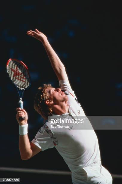 German tennis player Boris Becker pictured in action to progress to win the final of the Men's singles tournament at the 1991 Australian Open Tennis...