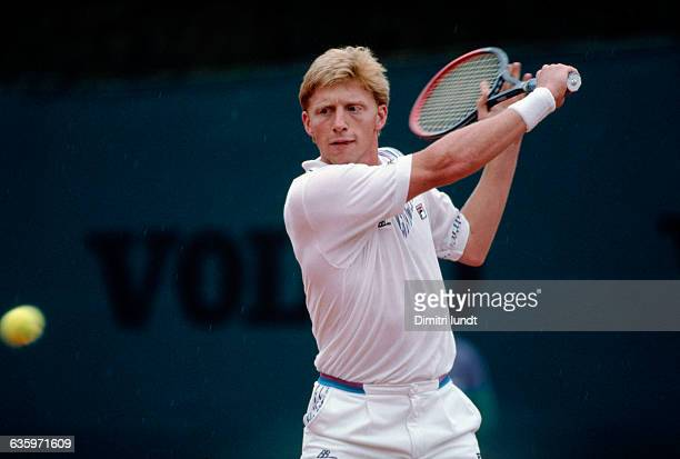 German tennis player Boris Becker prepares to hit a slice backhand during a match in the 1989 MonteCarlo Open