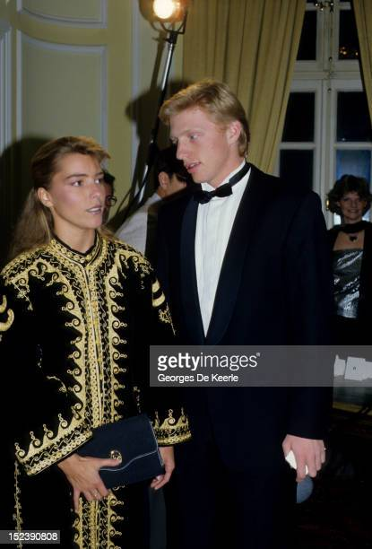 German tennis player Boris Becker winner of Wimbledon at 17 with his girlfriend on July 7 1985