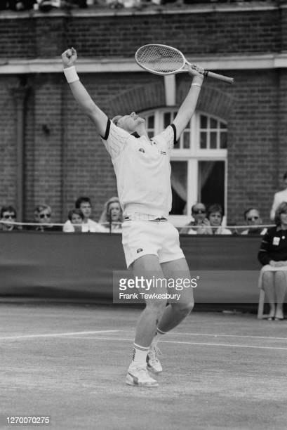 German tennis player Boris Becker wins the Stella Artois Championships at the Queen's Club in West Kensington, London, part of the 1985 Nabisco Grand...