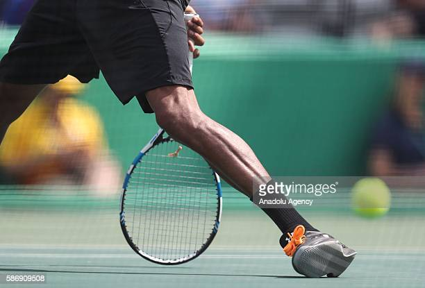 German tennis player Brown Dustin in action against Thomaz Belluci of Brazil during the tennis match of the Rio 2016 Olympic Games in Rio de Janeiro...