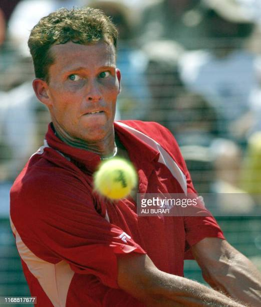 German tennis player Lars Burgsmüller returns the ball during his Davis Cup singles match against Argentina's Gaston Gaudio in Buenos Aires 09...