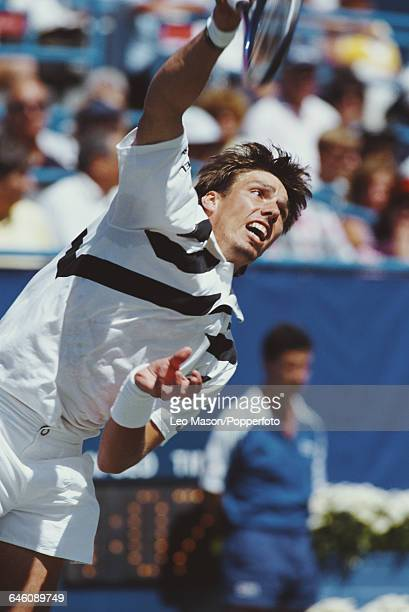 German tennis player Michael Stich pictured in action competing in the 1991 US Open Men's Singles tennis tournament at the USTA National Tennis...