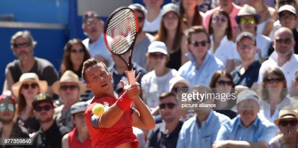 German Tennis Player Philipp Kohlschreiber in action against compatriot Alexander Zverev during their 2018 BMW Open men's singles final match in...