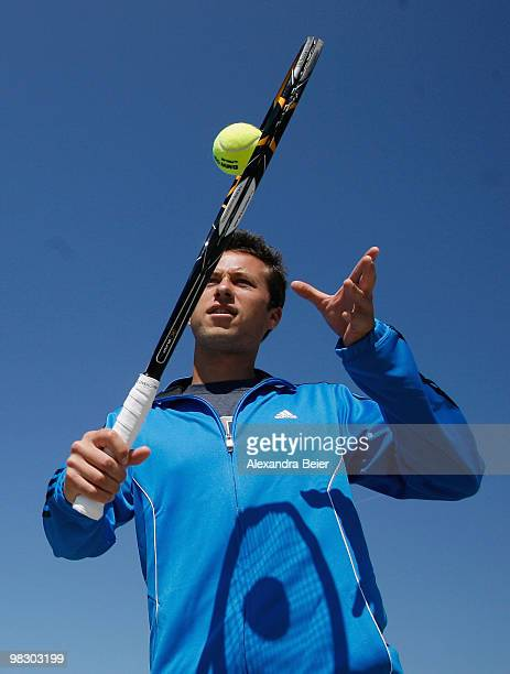German tennis player Philipp Kohlschreiber plays tennis during a BMW promotion assignment prior to the BMW Tennis Open 2010 at BMW World on April 7...