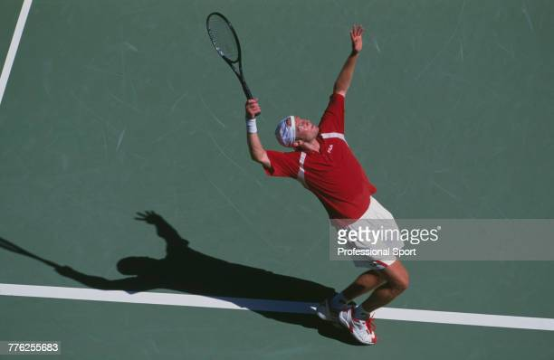 German tennis player Rainer Schuttler pictured in action during competition to reach the final of the Men's Singles tennis tournament at the 2003...