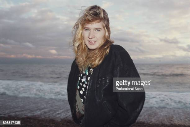 German tennis player Steffi Graf posed on the beach at Brighton England during competition to win the Brighton International tennis tournament in...