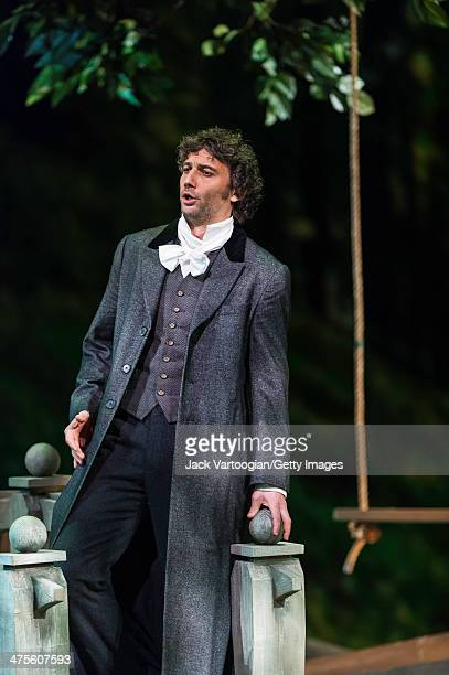 German tenor Jonas Kaufmann performs during the final dress rehearsal of the Metropolitan Opera/Richard Eyre production's of 'Werther' prior to its...