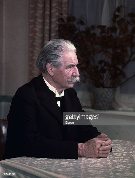 German theologian doctor musician and philosopher Albert Schweitzer winner of the 1952 Nobel Peace Prize for his humanitarian works