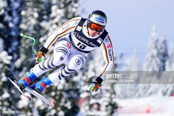 German Thomas Dressen competes in the FIS Ski World Cup Alpine Mens Downhill event on March 10 2018 in Kvitfjell Norway / AFP PHOTO / NTB Scanpix /...