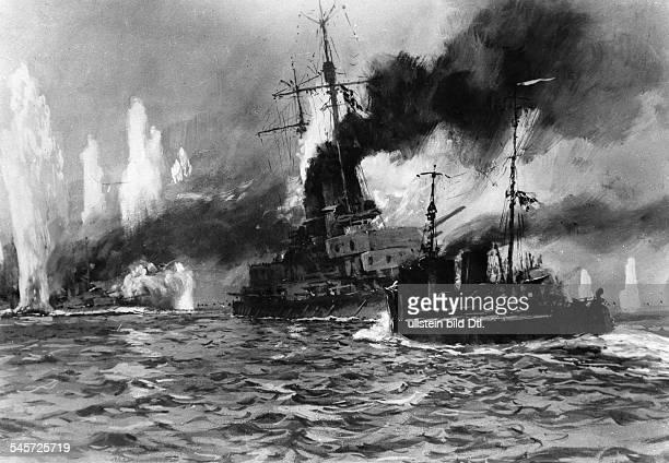German torpedo boat G39 during a maneuver painting