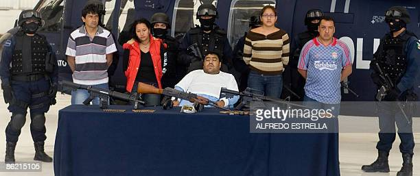 German Torres Jimenez aka Z25 and other alleged members of the drug cartel Los Zetas are presented to the press at the Command Centre in Mexico City...