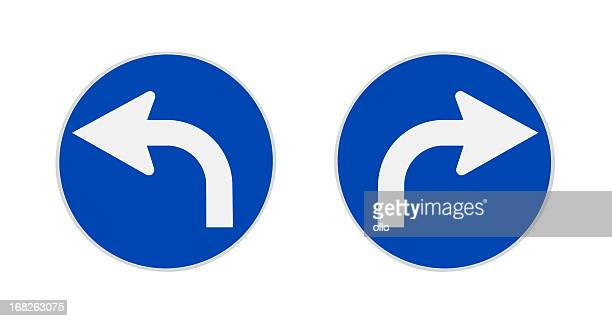 German traffic signs, turn left, right