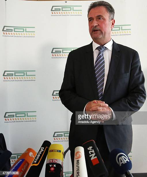 German Train Drivers' Union leader, Claus Weselsky announces a new strike during a press conference in Berlin, Germany, on May 18, 2015.