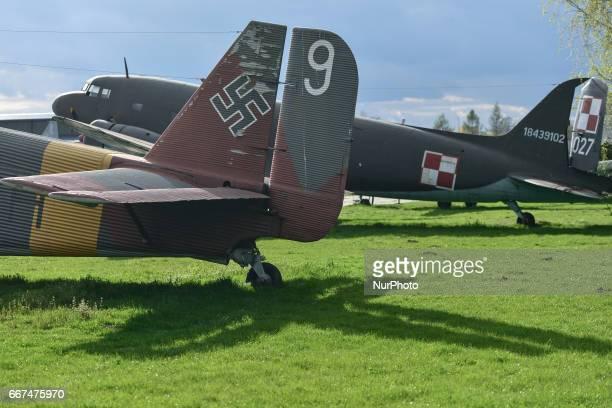 A German transport aircraft Amiot AAC1 Toucan and a transport aircraft Lisunow Li2 on display in the Polish Aviation Museum in Krakow RakowiceCzyzyny...
