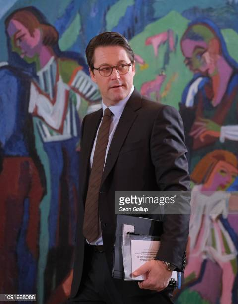German Transport and Digital Infrastructure Minister Andreas Scheuer arrives for the weekly German government cabinet meeting on January 09 2019 in...