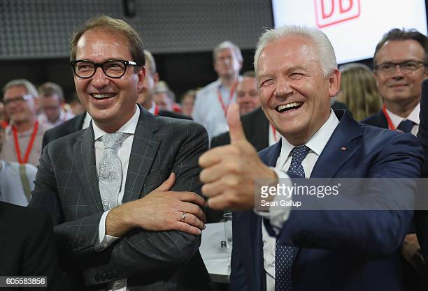 German Transport and Digital Technologies Minister Alexander Dobrindt and Deutsche Bahn head Ruediger Grube attend the official presentation of the...