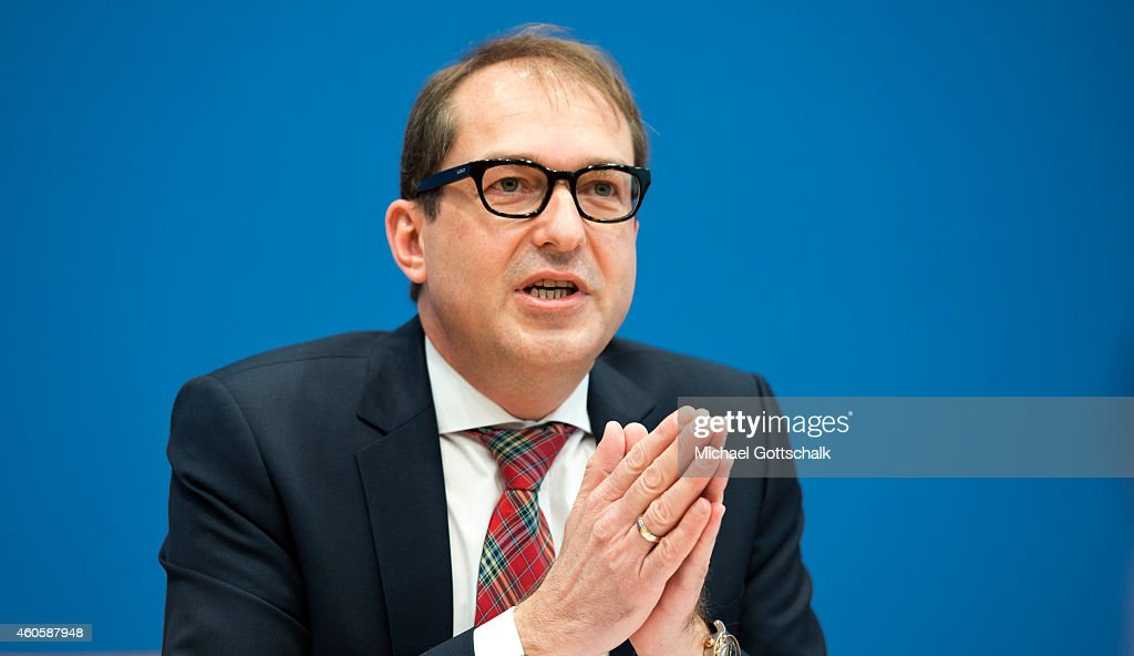 German Transport Minister Alexander Dobrindt attends a session on the subject of a planned toll for vehicles in federal press conference on December 17, 2014 in Berlin, Germany.