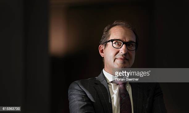 German Transport Minister Alexander Dobrindt is captured during a panel discussion on October 18 2016 in Berlin Germany