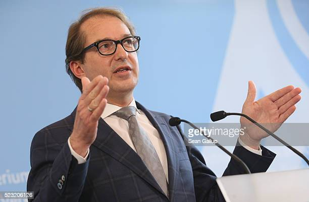 German Transport Minister Alexander Dobrindt speaks to the media to annouce the findings of a commission that investigated the emissions of a wide...
